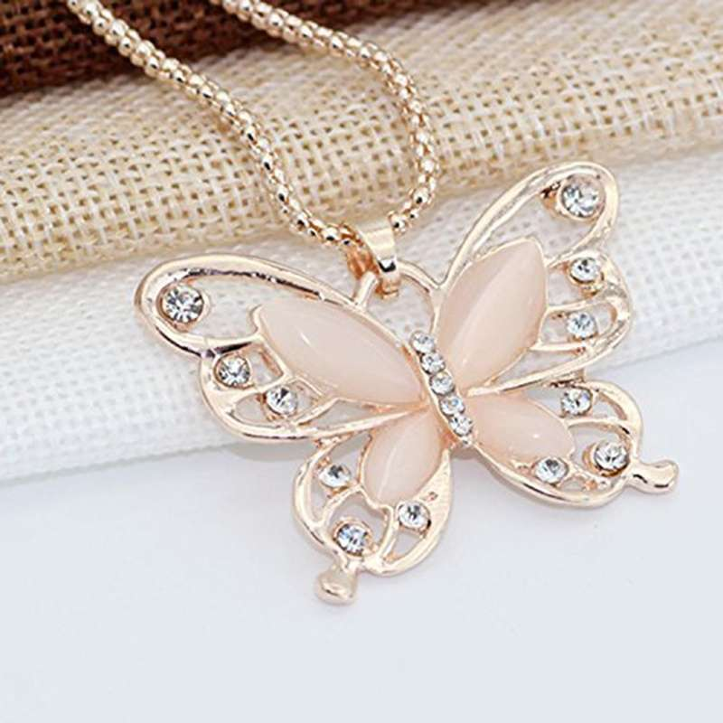Women Lady Rose Gold Opal Butterfly Pendant Necklace Sweater Chain-4