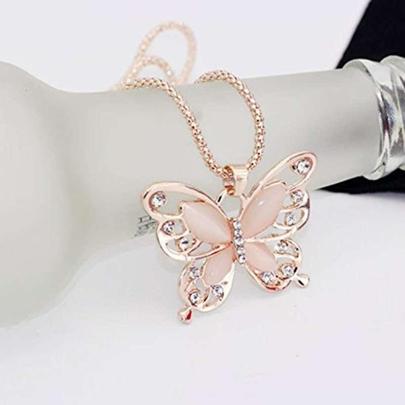 Women Lady Rose Gold Opal Butterfly Pendant Necklace Sweater Chain-5