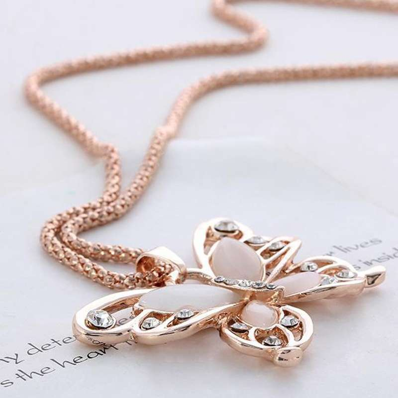 Women Lady Rose Gold Opal Butterfly Pendant Necklace Sweater Chain-6