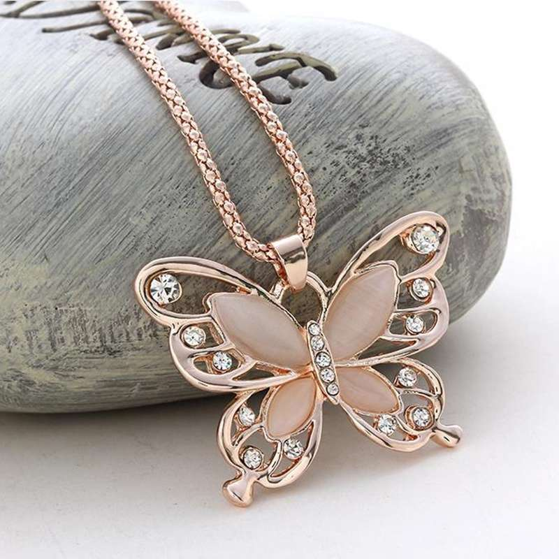 Women Lady Rose Gold Opal Butterfly Pendant Necklace Sweater Chain-7