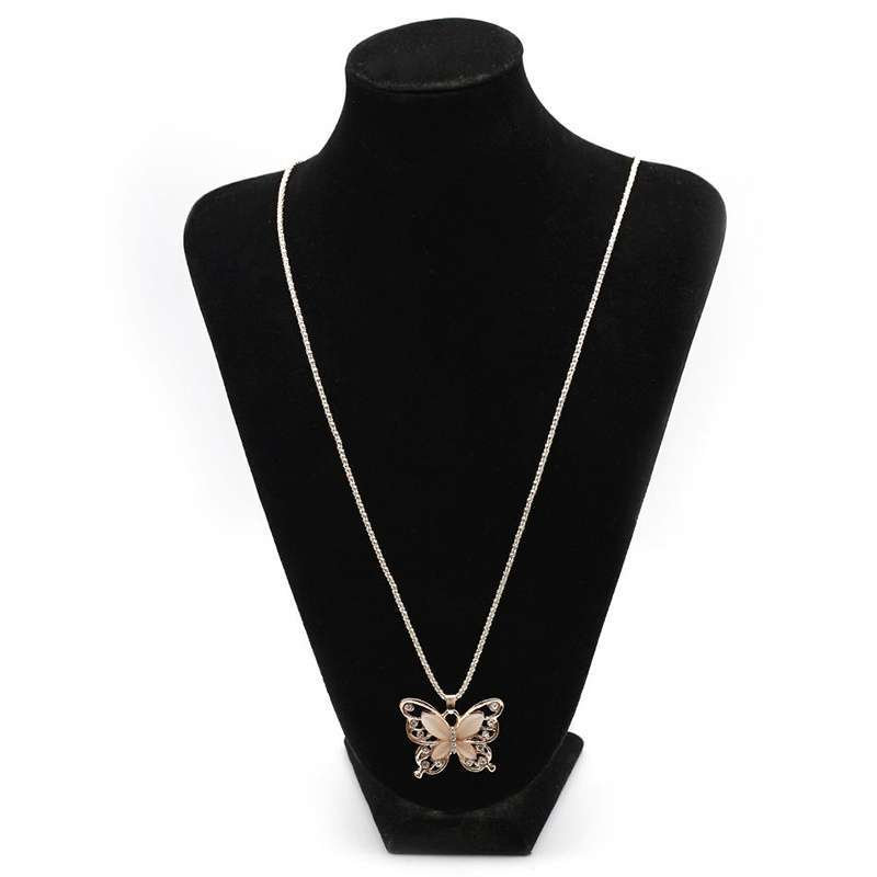 Women Lady Rose Gold Opal Butterfly Pendant Necklace Sweater Chain-8