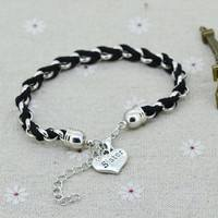 JorV-Silver Chain Leather Rope Sister Charm Bracelet Bangle Fashion Jewelry