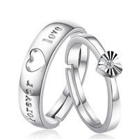 JosR-Fashion 925 Sterling Silver Forever Love Heart Rhinestones Adjustable Opening Couple Rings Brand New Gift