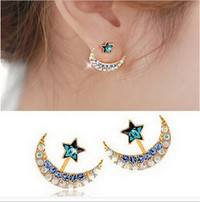 JpQm-Women Personalized Moon And Star Crystal Ear Stud Earrings Gifts
