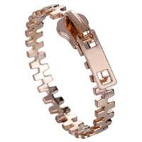 Jq7a-Gold Plated Casual Zip Fastener Bangles