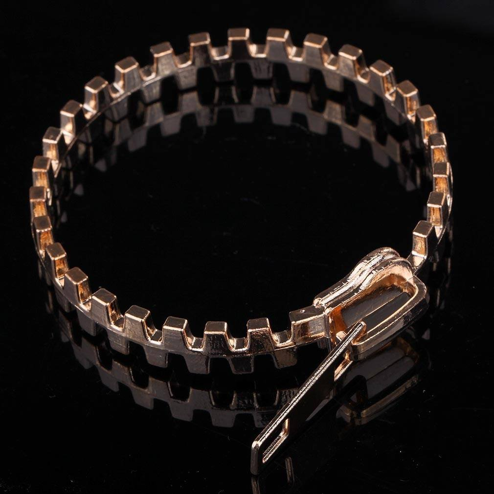 Gold Plated Casual Zip Fastener Bangles-1