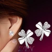 JqxW-Women Fashion Cute Lady Girl 925 Silver Plated Lucky 4 Leaf Ear Stud