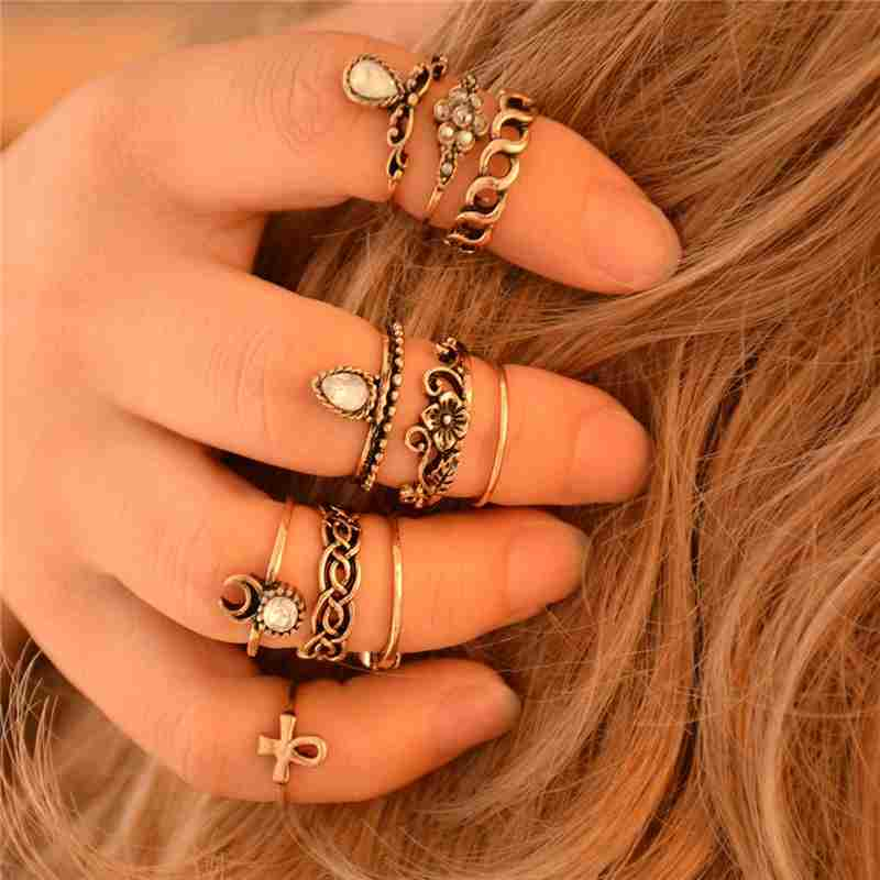 Women Fashion Hot 10PC/SET Retro Vintage Punk Knuckle Tribal Ethnic Joint Jewelry Rings Set-1