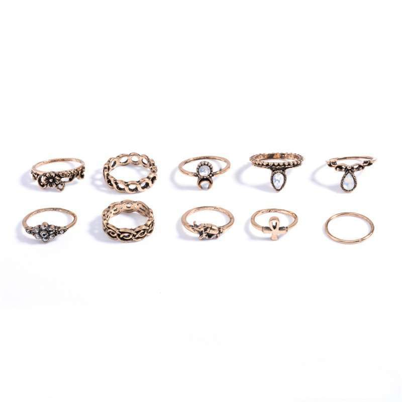 Women Fashion Hot 10PC/SET Retro Vintage Punk Knuckle Tribal Ethnic Joint Jewelry Rings Set-2
