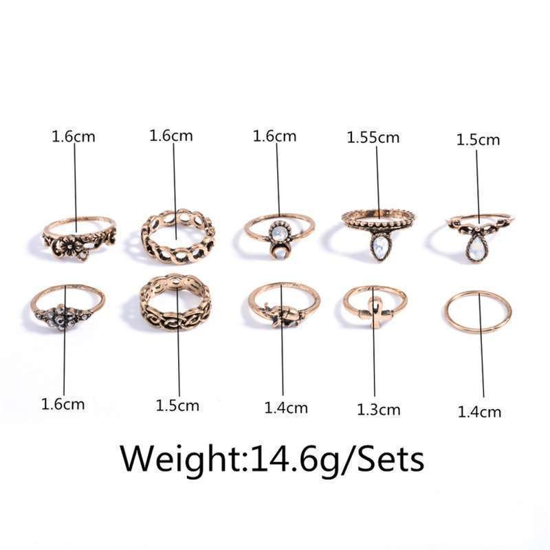 Women Fashion Hot 10PC/SET Retro Vintage Punk Knuckle Tribal Ethnic Joint Jewelry Rings Set-4
