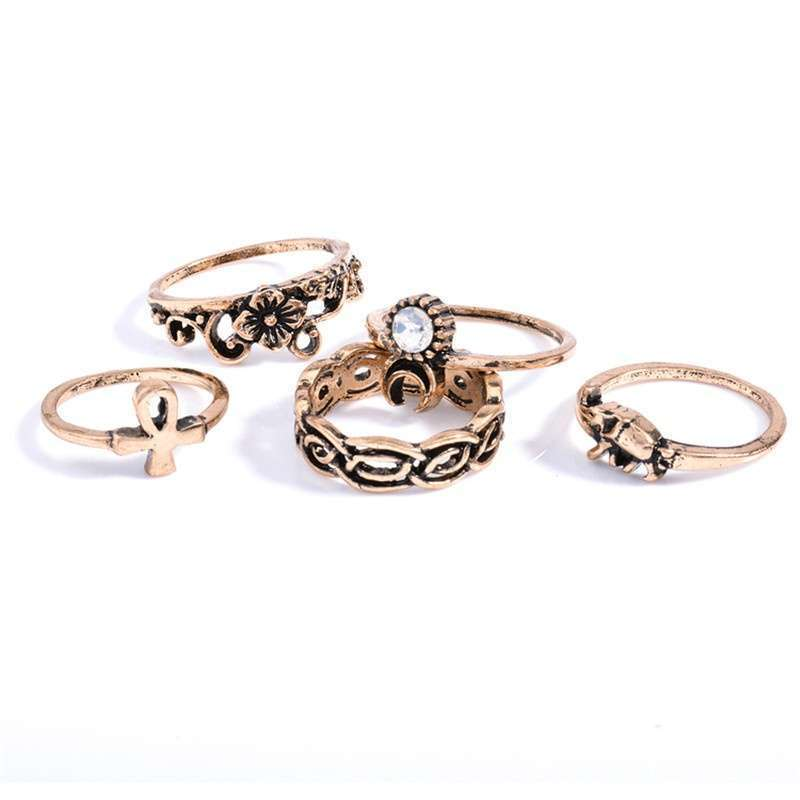 Women Fashion Hot 10PC/SET Retro Vintage Punk Knuckle Tribal Ethnic Joint Jewelry Rings Set-5