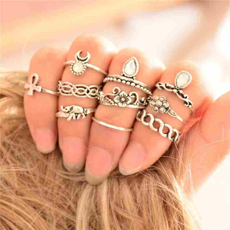 Women Fashion Hot 10PC/SET Retro Vintage Punk Knuckle Tribal Ethnic Joint Jewelry Rings Set-7