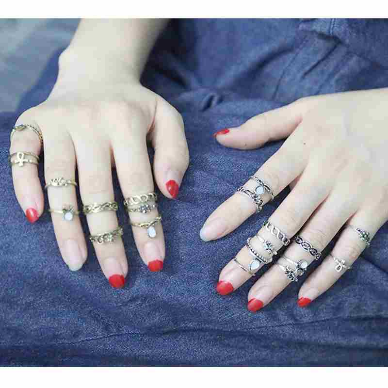 Women Fashion Hot 10PC/SET Retro Vintage Punk Knuckle Tribal Ethnic Joint Jewelry Rings Set-8
