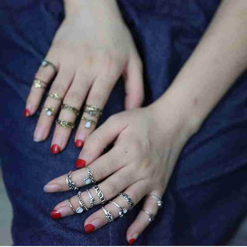Women Fashion Hot 10PC/SET Retro Vintage Punk Knuckle Tribal Ethnic Joint Jewelry Rings Set-9