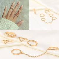 Jskr-Set Personality Leaf Knuckle Midi Mid Finger Tip Stacking Chain Rings