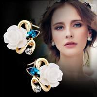 JtTE-Rhinestone White Ceramic Flower Ear Cuff Earrings Stud Earrings For Women