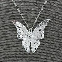 Jtht-925 Sterling Silver Lovely Butterfly Pendant Chain Necklace Women Jewelry