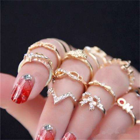 1 Set 7 pcs Women's Rhinestone Bowknot Knuckle Midi Mid Finger Tip Stacking Rings (Color: Golden)