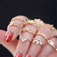 JtzX-1 Set 7 Pcs Women's Rhinestone Bowknot Knuckle Midi Mid Finger Tip Stacking Rings (Color: Golden)
