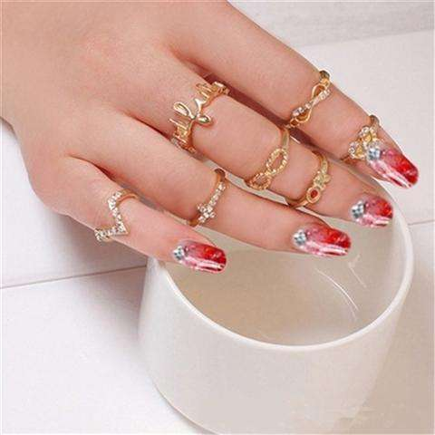 1 Set 7 pcs Women's Rhinestone Bowknot Knuckle Midi Mid Finger Tip Stacking Rings (Color: Golden)-1