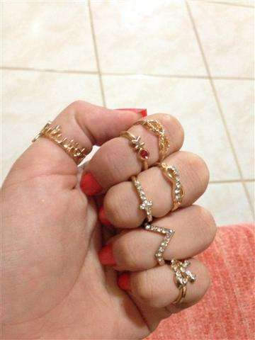 1 Set 7 pcs Women's Rhinestone Bowknot Knuckle Midi Mid Finger Tip Stacking Rings (Color: Golden)-3