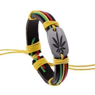 Jamaica Red Green Marijuana Leaves Bracelet, Cool Birthday Gift Chain Bracelet j051 (Size: One Size)