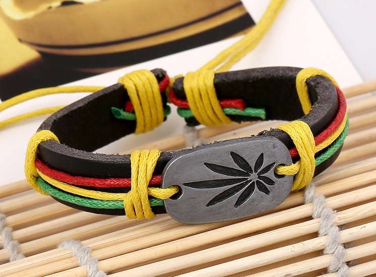 Jamaica Red Green Marijuana Leaves Bracelet, Cool Birthday Gift Chain Bracelet j051 (Size: One Size)-2