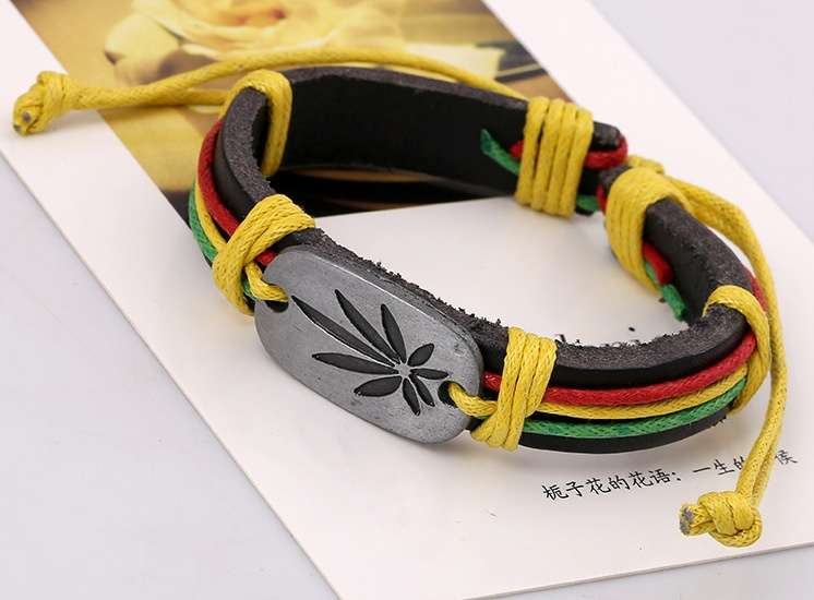 Jamaica Red Green Marijuana Leaves Bracelet, Cool Birthday Gift Chain Bracelet j051 (Size: One Size)-3
