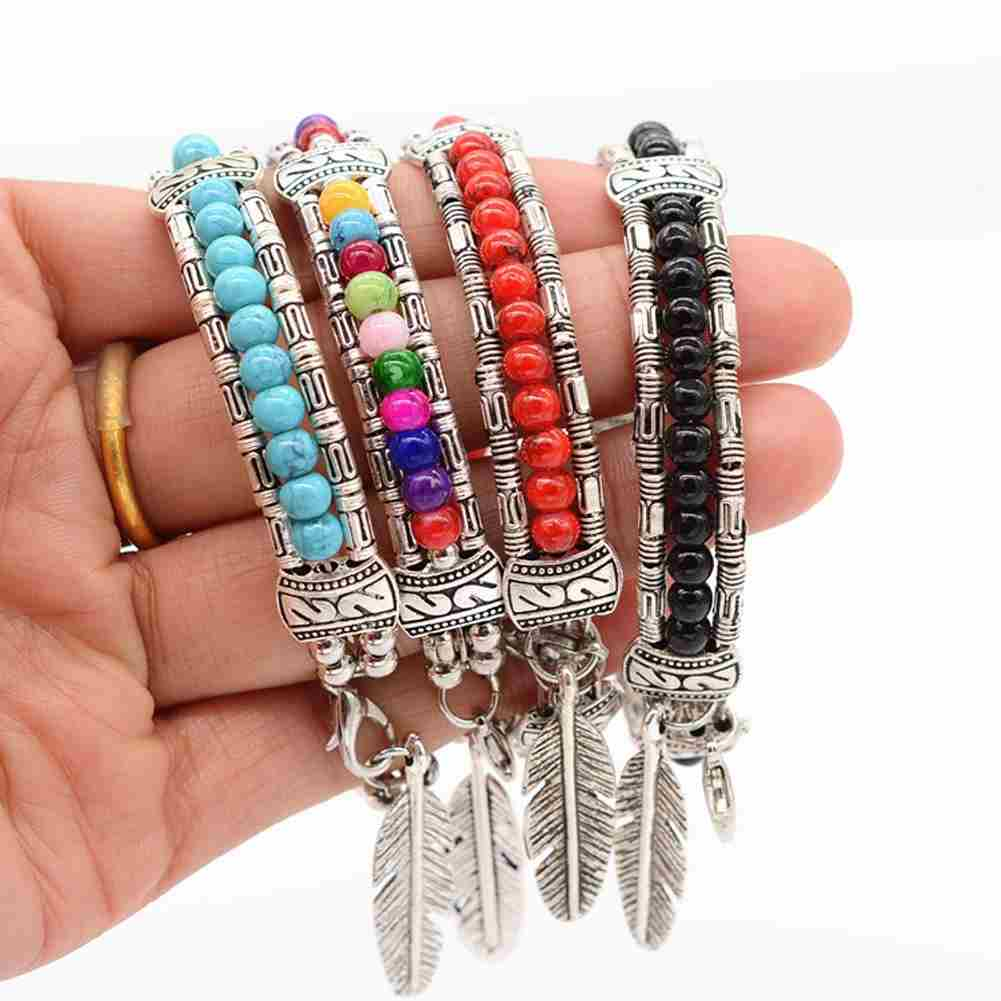 New and Fashion Europe Exaggerated Fashion Jewelry Ethnic Tibetan Silver Turquoise Bracelet Feather Bracelet