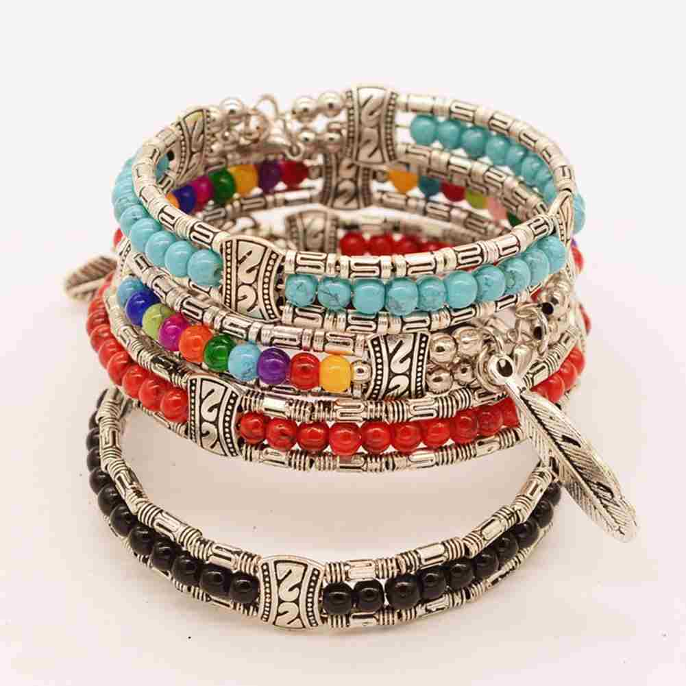 New and Fashion Europe Exaggerated Fashion Jewelry Ethnic Tibetan Silver Turquoise Bracelet Feather Bracelet-1