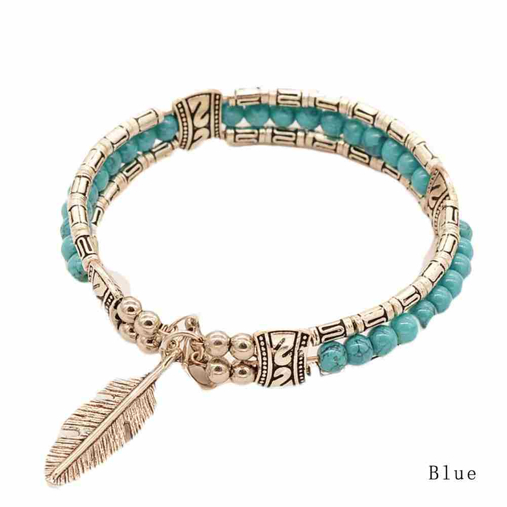 New and Fashion Europe Exaggerated Fashion Jewelry Ethnic Tibetan Silver Turquoise Bracelet Feather Bracelet-5
