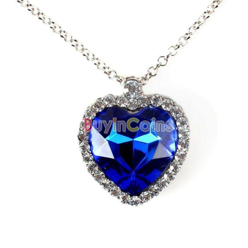 Woman Jewelry Blue Crystal Heart of Ocean Bling Rhinestone Pendant Necklace