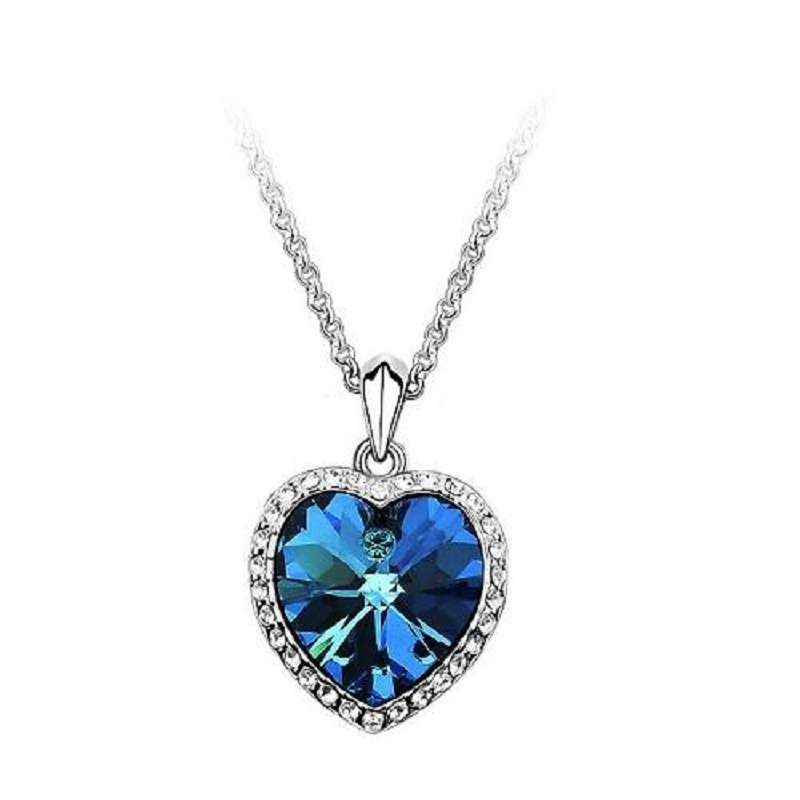 Woman Jewelry Blue Crystal Heart of Ocean Bling Rhinestone Pendant Necklace-1