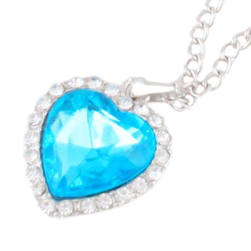 Woman Jewelry Blue Crystal Heart of Ocean Bling Rhinestone Pendant Necklace-3