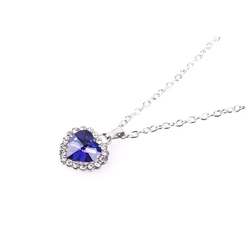 Woman Jewelry Blue Crystal Heart of Ocean Bling Rhinestone Pendant Necklace-4