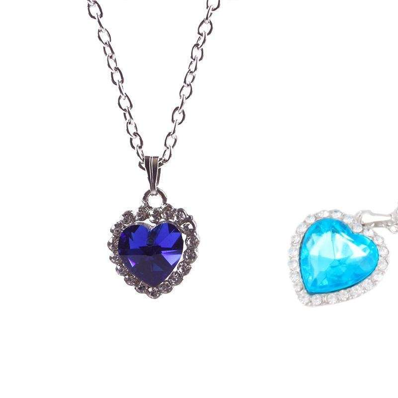 Woman Jewelry Blue Crystal Heart of Ocean Bling Rhinestone Pendant Necklace-5