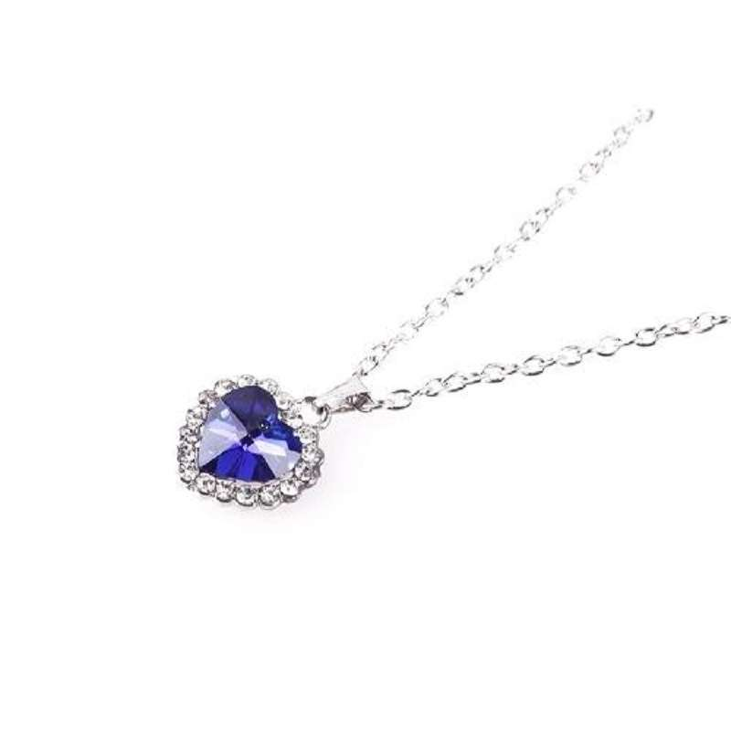 Woman Jewelry Blue Crystal Heart of Ocean Bling Rhinestone Pendant Necklace-6