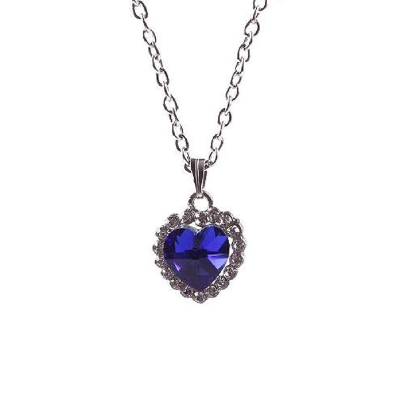 Woman Jewelry Blue Crystal Heart of Ocean Bling Rhinestone Pendant Necklace-8