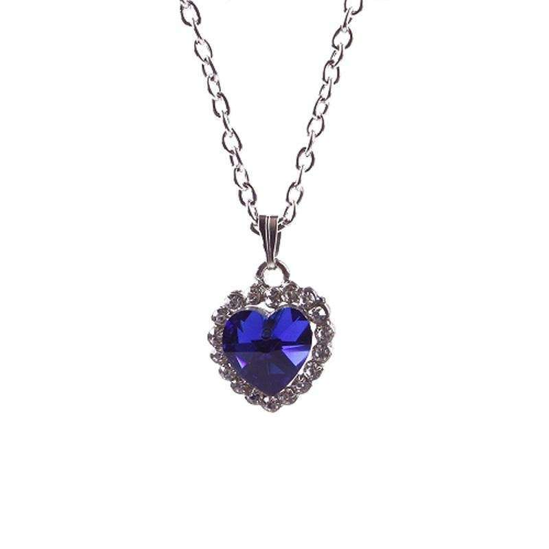 Woman Jewelry Blue Crystal Heart of Ocean Bling Rhinestone Pendant Necklace-9
