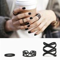 JxU4-3PCS/Set Punk Black Women's Stack Plain Above Knuckle Ring Midi Finger Tip Rings