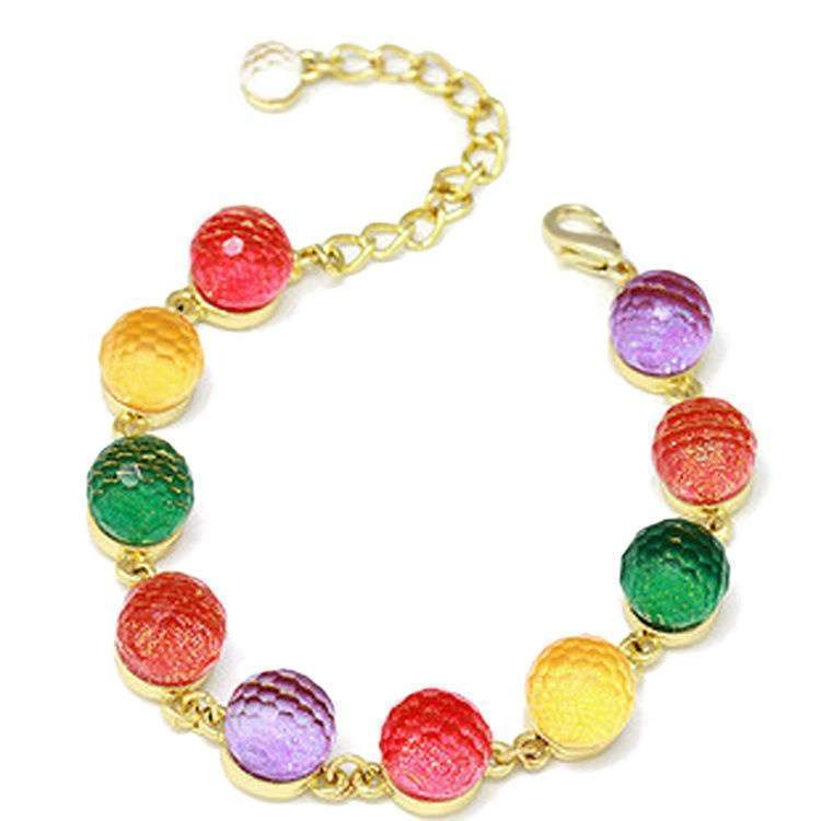Colorful Candy Color Crystal Beads Gold Plated Adjustable Bangle Bracelet Ladies Woman Beautiful Fashion Jewelry