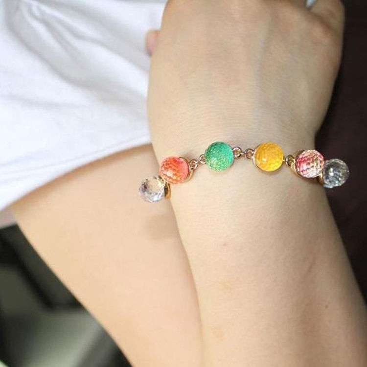 Colorful Candy Color Crystal Beads Gold Plated Adjustable Bangle Bracelet Ladies Woman Beautiful Fashion Jewelry-1