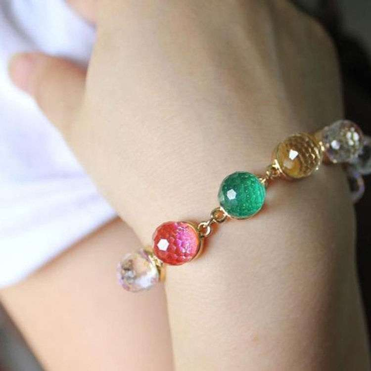 Colorful Candy Color Crystal Beads Gold Plated Adjustable Bangle Bracelet Ladies Woman Beautiful Fashion Jewelry-3