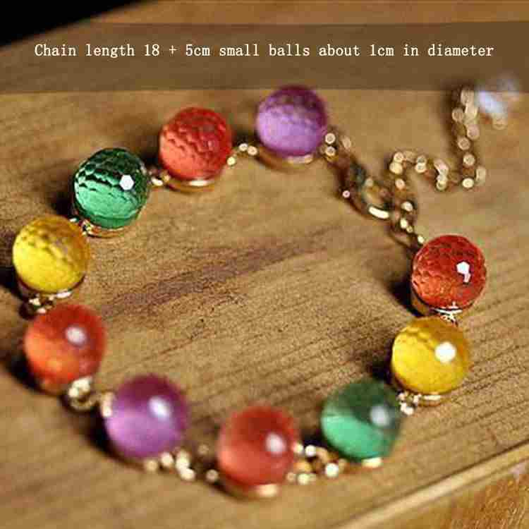 Colorful Candy Color Crystal Beads Gold Plated Adjustable Bangle Bracelet Ladies Woman Beautiful Fashion Jewelry-5