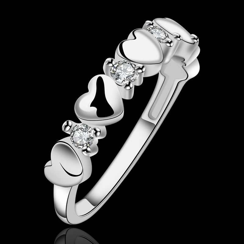 High Quality 925 Sterling Silver Fashion Popular Jewelry fashion inlaid zircon ring LKNSPCR600-3