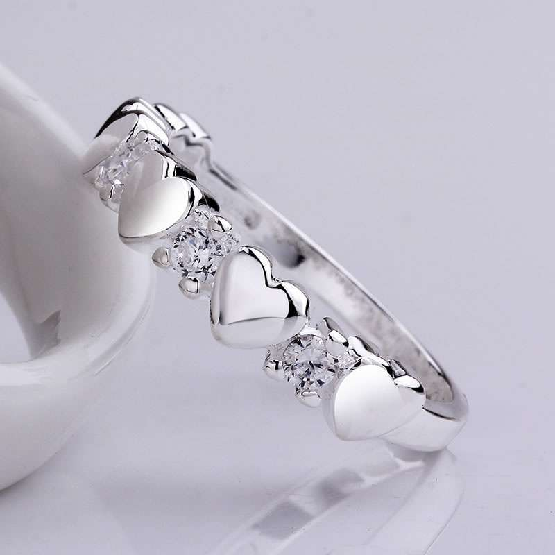 High Quality 925 Sterling Silver Fashion Popular Jewelry fashion inlaid zircon ring LKNSPCR600-5