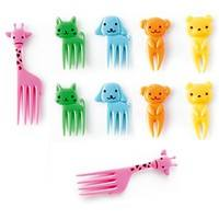 K29g-Kids Food Pick Fork 10 Piece Giraffe Dog Cat Bear Monkey