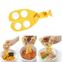 K46E-Professional Safe Care Crush Baby Kids Cut Food Shears Feeding Toddlers Scissors