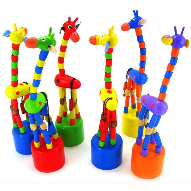 Baby Kid Wooden Toys Developmental Dancing Standing Rocking Giraffe Gift Toy