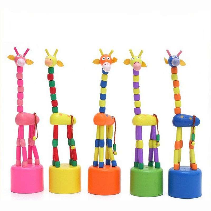 Baby Kid Wooden Toys Developmental Dancing Standing Rocking Giraffe Gift Toy-1